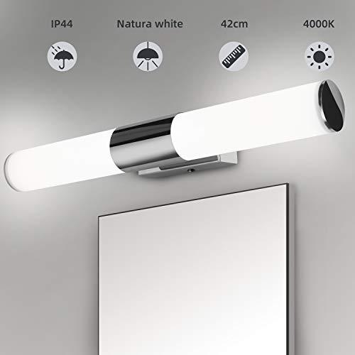 Albrillo LED Spiegelleuchte Badezimmer - 12W Bad Spiegellampe 42cm, 1000 Lumen Badlampe aus Edelstahl und PC, Neutralweiß 4000K und kein Flackern, Wasserdicht IP44 für Spiegel als Make-up Licht