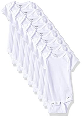 Includes eight white Gerber short sleeve onesies bodysuits 100% cotton rib provides added breathability Higher-in-the-front bottom snap closure for easy changing An easily-expandable lap shoulder neckline makes them quick to pull on in the morning St...