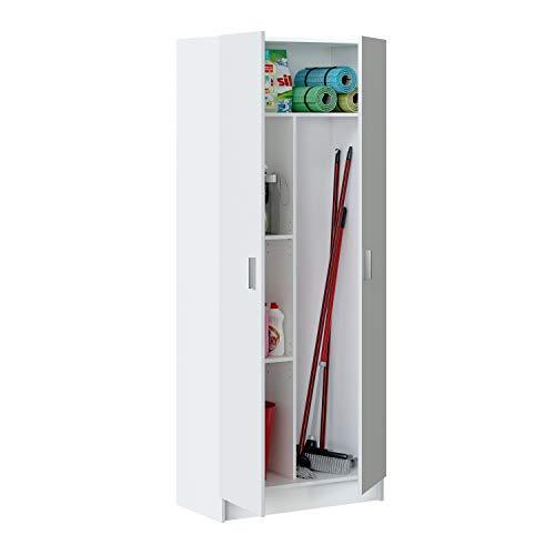 13Casa Kawai A6 Armadio multiuso, 73x37x180 h cm, Melamina, Colore Bianco