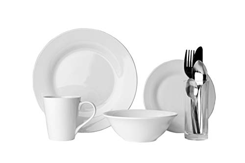 Sabichi 9pc Solo Dining Set, White, Porcelain, Plates, Bowl, Cutlery, Mug & Glass. Ideal for Students - CF26