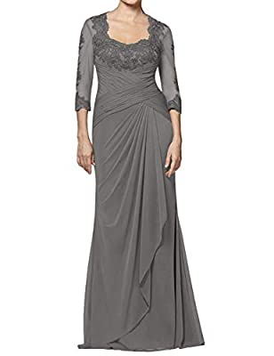Dress detail: Chiffon material, 3/4 Sleeves, Scoop Neck Neckline design, A-Line style dress, Lace Appiques, Floor Length mother of the bride dresses, Zipper Closure Wash care: Hand Wash. Cold Hang Dry. Occasion: Perfect for Wedding Party Gown, Brides...