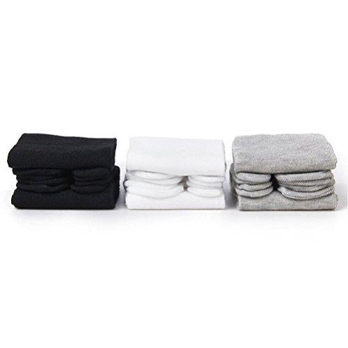 Rosenice - 3 paia di calzini tabi, elastici, in cotone (bianco + nero + grigio)