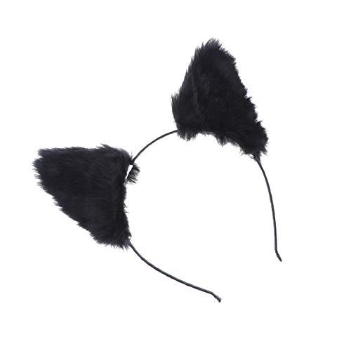Pixnor orelhas de gato headband pelãºcia orelha de raposa cabelo hoop headband halloween hairband cosplay cocar para mulheres meninas festa preto