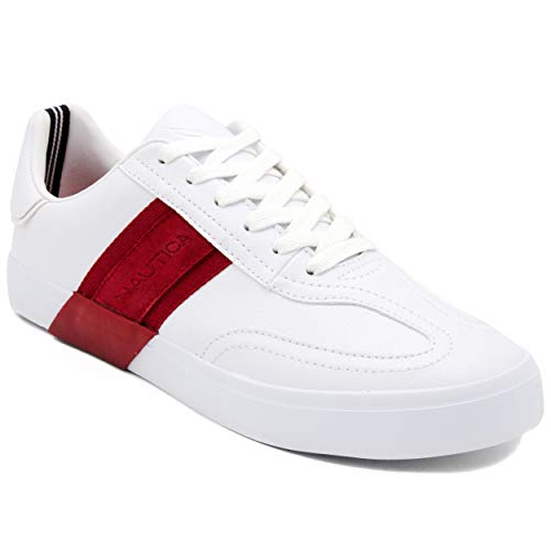 Nautica Men's Townsend Casual Lace-Up Shoe,Classic Low Top Loafer, Fashion Sneaker-White/Red-11