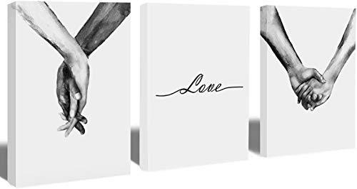 Gallery Wrapped Ready to Hang,Simplism Drawing Wall Art,Woman and Man 'Hand in Hand' Canvas Print Poster,Love...