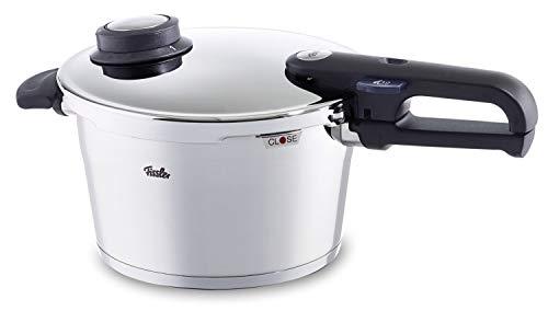Fissler Pentola a pressione, 22 cm, 4,5 litri, Per tutti i piani cottura, Funzione cottura a vapore, Acciaio inox, Vitavit Premium