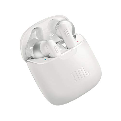 JBL TUNE 220TWS Cuffie Earbuds True Wireless Bluetooth – Auricolari senza fili con microfono per Musica, Chiamate e Sport – Fino a 3h di autonomia + 17h extra – Colore Bianco