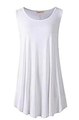Nice Fabric - LARACE sleeveless tunic tops are made from soft, stretchy, breathable, lightweight and thin material, not see-through, not clingy, make you feel relaxed and cool in hot summer. The basic tank tops for women can be worn as daily wear wom...