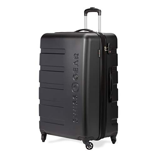 SWISSGEAR 7366 Hardside Expandable Luggage with Spinner Wheels (Large Checked, Black)