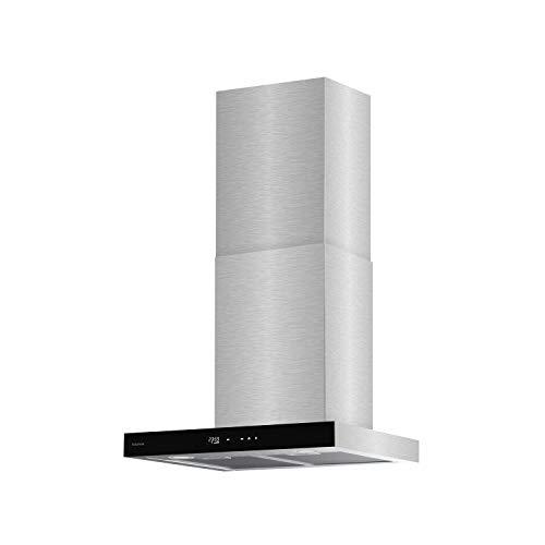 Taurus T70IXAL - Cappa decorativa in acciaio e vetro nero, larghezza 70 cm, 650 m3/h di aspirazione, 3 velocit, touch, efficienza A, LED, 200 W, filtri in alluminio lavabili multistrato