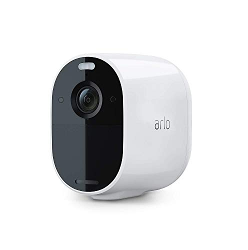 Arlo Essential Spotlight, telecamera sorveglianza Wifi senza fili, 1080p, Faro e sirena integrati, Visione notturna a colori, Audio a 2 vie, interno/esterno, non richiede Base Arlo, bianca, VMC2030