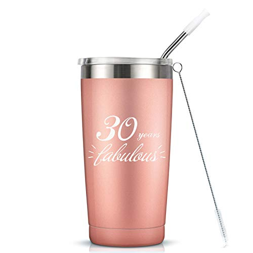 30 Years Fabulous - 30th Birthday Gifts For Women - 20 Oz Vaccuum Insulated Stainless Steel Mug Tumbler with Lid, Funny Turning 30 Gift Idea for Women Her Girlfrend Wife Bestie Friend Ladies Gift