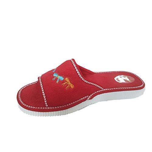 Sandalo Donna Ciabatte Mare Piscina Spa Spugna 100% Art. Ischia (41 EU, Rosso)