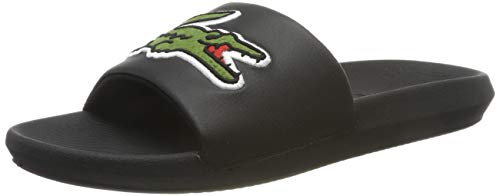 Lacoste Croco Slide 319 4 US CMA, Sandalias de Punta Descubierta Hombre, Noir (Black/Green), 43 EU