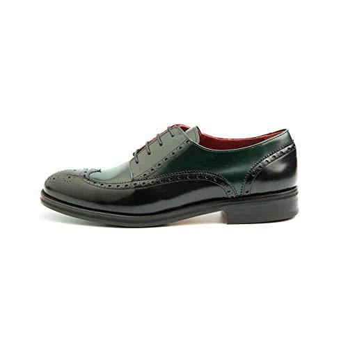 Beatnik Shoes Zapatos de Cordones Estilo Oxford Blucher Bicolor Verde y Negro de Mujer en Piel Beatnik Ethel Green on Black. Talla 37