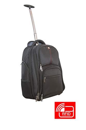 Verbatim Rucksack mit Rollen, Trolley Backpack für Notebooks bis 43,2 cm (17 Zoll), Farbe schwarz, Modell Paris, schwarz