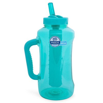 Cool Gear Big Swig EZ-Freeze Hydrate 64oz Water Bottle BPA Free with Twist and Lock Feature (Teal or Blue)(Teal)