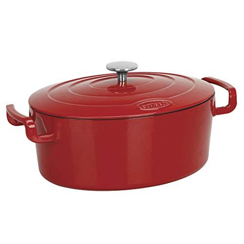 Sitram COCOTTE Sitrabella ovale en fonte émaillée grande capacité 6,5 litres - Extérieur rouge et intérieur blanc - toutes sources de chaleur y compris induction et four - 711084