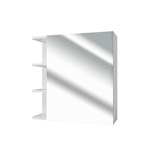 Vicco Mirror Cabinet Fynn Bathroom Mirror White 62cm Bathroom Mirror with Racks