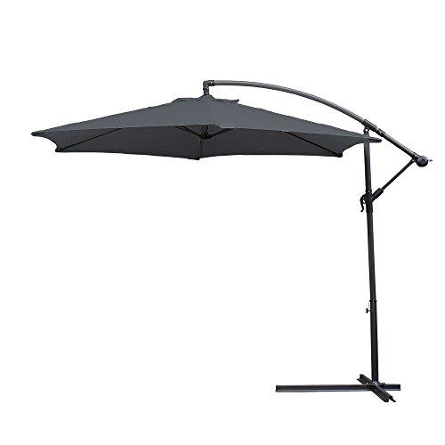 wolketon Alu Ampelschirm Ø 350cm mit Kurbelvorrichtung UV-Schutz 30+ Wasserabweisende Bespannung - Sonnenschirm Schirm Gartenschirm Marktschirm Kurbelschirm