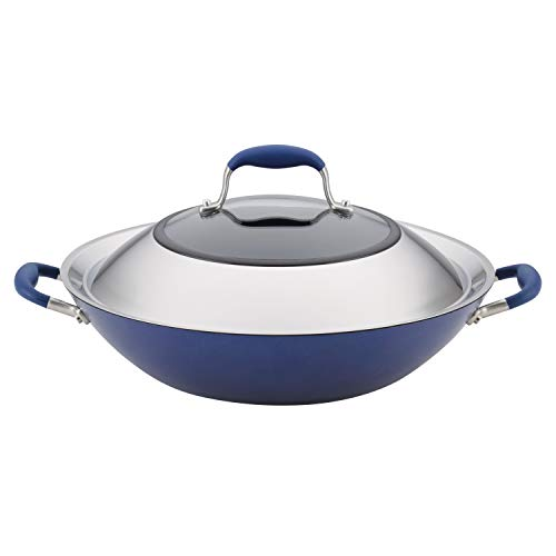 Anolon Advanced Hard Anodized Nonstick Stir Fry Wok Pan with Lid, 14 Inch, Indigo Blue