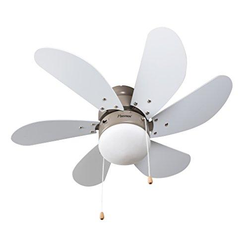 Bestron Deckenventilator mit Lampe, Ø 75 cm, 50 W, Ahorn/Weiß