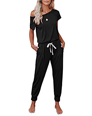 Material: Polyester60%+Rayon35%+Spandex5%. Super soft, lightweight and breathable fabric. Features: Scoop neckline, short sleeves, t shirts, elastic waistband with drawstring tie, side pockets, beam foot, trousers, solid color, loose fit, home casual...