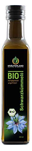 Kräuterland - Bio Schwarzkümmelöl 250ml ungefiltert - 100% rein, schonend kaltgepresst, ägyptisch, nigella sativa, vegan - Frischegarantie: täglich mühlenfrisch direkt vom Hersteller