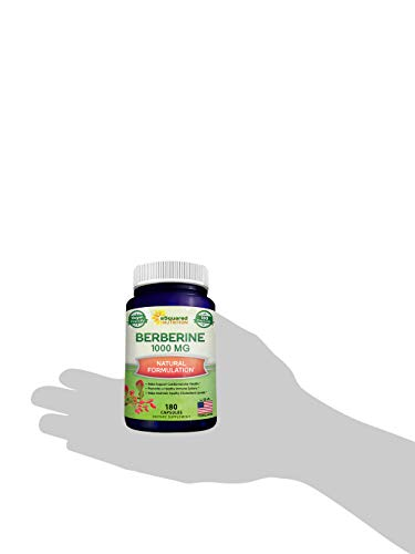Pure Berberine 1000mg Supplement - 180 Veggie Capsules, Natural Berberine Hydrochloride HCL Plus, Max Strength 1000 mg (2X 500mg), Potent Vegan Extract for Healthy Blood Sugar Levels & Blood Glucose 7