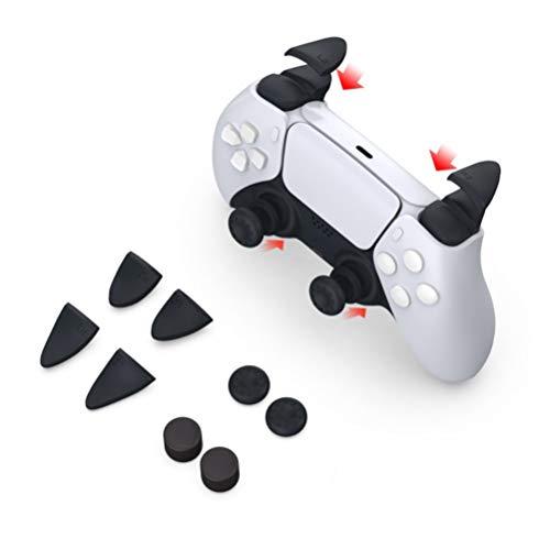 For PS5 コントローラー For DualSense専用 アナログスティック/ボタンカバー L2R2【ブラック】 シリコン製...