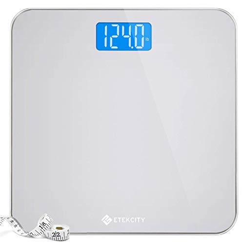 Etekcity Digital Body Weight Bathroom Scale with Body Tape Measure and Round Corner Design, Large Blue LCD Backlight Display, High Precision Measurements, 400 Pounds 1