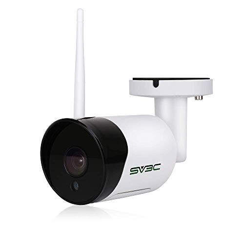 SV3C Telecamera IP Wi-fi Esterno Senza Fili 1080P Videocamera Sorveglianza Esterno WiFi con Audio Bi-Direzionale, Impermeabile, Visione Notturna, Rilevamento del Movimento, Supporto TF Card da 128 GB