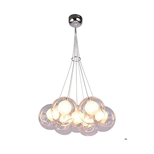 Modernen Glaskugel Kronleuchter Led Chrome Kugel Pendelleuchte Industrie Einstellbar Pendellampe Befestigung Mit Lampenschirm Für Wohnzimmer Küche Cafe