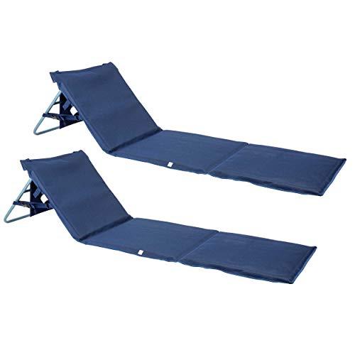 ONVAYA Premium Strandmatte 2cm gepolstert mit Rückenlehne   Strandliege faltbar   Strandmatratze dunkelblau   Sonnenmatte mit Tragegurt   161 x 55 x 45 cm (2 Stück)