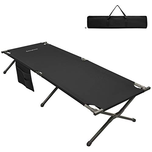 KingCamp XXL Folding Camping Bed Cot with Carry Bag 120 kg Load 205 × 75 × 46 cm Single Cot Portable Bed for Travel Outdoor Fishing Thickened Tube in Black Beige Green