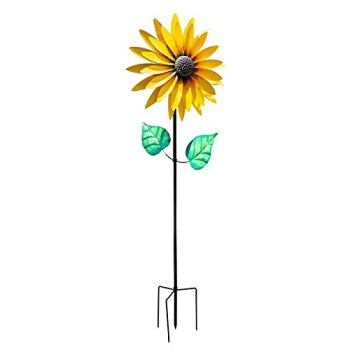 sympuk 1 pièces Tournesol Moulin à Vent Moulin à Vent Fleurs Moulin à Vent fête pour Enfants décoration Tournesol pour Adolescents pelouse Jardin Cour décoration extérieure 75 cm de Haut
