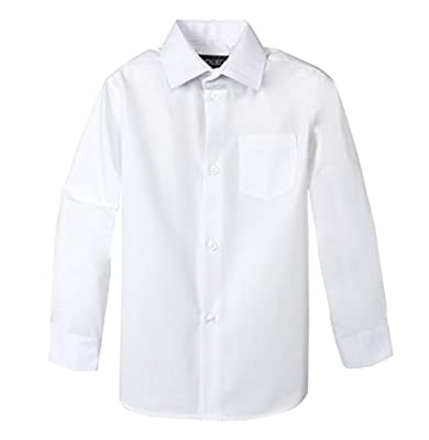 Long sleeve dress shirt with front pocket. Sizes available from infant to 20. 35% Cotton and 65% Polyester. Machine wash cold with like color. Tumble dry low. Warm iron if needed.