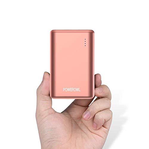 POWEROWL Powerbank 10000mah Caricabatterie Portatile 2 USB Porta Charger Power Bank Batteria Esterna per Huawei, iPhone Samsung e Altri Cellulare,Tablet (Oro Rosa)