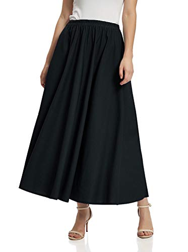 Soojun Women's Solid Cotton Linen Retro Vintage A-line Long Flowy Skirts, Deep Black, Small Petite