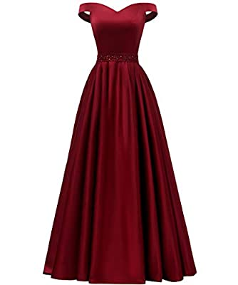 Sexy off the shoulder formal gown with beaded belt, sweetheart neckline, A-line silhouette, hidden side pockets floor length, invisible bra inside, corset lace up back, fully lined, boned Normally it needs 6-8 working days for us to make this dress. ...