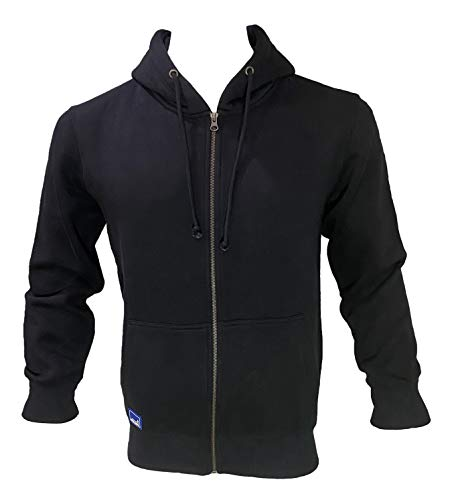Coton Coupe Mens Soft-Cotton Fleece Zipper Hoodie with Hidden Mobile Pocket (L, Black)