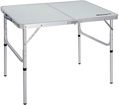 REDCAMP Aluminum Folding Table 3 Foot, Adjustable Height Lightweight Portable Camping Table for Picnic Beach Outdoor Indoor, White 36 x 24 inch