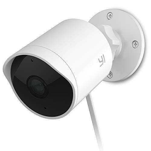YI Telecamera Wifi Esterno Impermeabile IP65, Telecamera Outdoor 1080p, Resistente alle Intemperie, Rilevamento Umano e Sonoro, Notifiche Push, Allarme, Visione Notturna, Cloud, Compatibile con Alexa