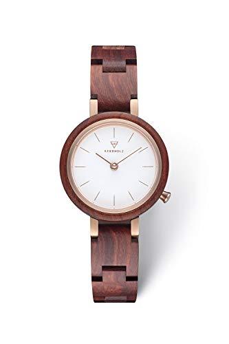 KERBHOLZ Holzuhr – Classics Collection Matilda analoge Quarz Uhr für Damen, Gehäuse und verstellbares Armband aus massivem Naturholz, Ø 27mm, Rosenholz Weiß