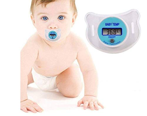 Zhahender Termómetro del pezón del bebé, Termómetro Infantil del Chupete del maniquí Digital con Chupete Suave del pezón Caja Fuerte de Moda (Color : Azul)