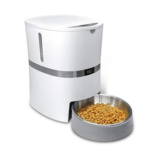 HoneyGuaridan A36 Automatischer Futterautomat für Hunde und Katzen mit Edelstahl Futterschüssel, Portionskontrolle und Sprachaufzeichnung - Batterien und Netzteil-Unterstützung