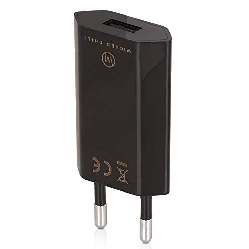 Wicked Chili Pro Series Netzteil - Ultra Slim - USB Adapter für Handy, Tablet, eBook Reader, Smartphone (1000 mA, 100-240V) schwarz