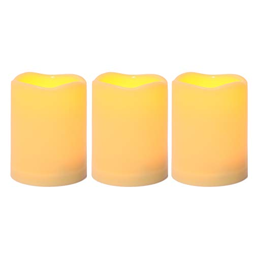 3 Waterproof Outdoor Battery Operated Flameless LED Pillar Candle with Timer Flickering Plastic Resin Electric Decorative Light for Lantern Patio Garden Home Decor Party Wedding Decorations 3x4 Inches