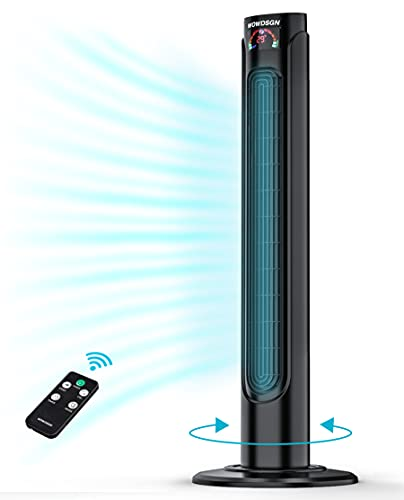 Ventilatore a Torre Silenzioso con Telecomando /Timer 15 Ore - WOWDSGN Ventilatore Colonna Oscillante 90 - Tower Fan Digitale 36 Pollici per Casa / Ufficio - 3 Velocit e 3 Modalit - 55W Nero