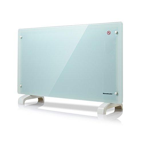 Homeleader GHB-20A elektrische Konvektor Heizung/ 2000 Watt Glas Konvektor mit 2 Heizstufen/Überhitzungsschutz/Sicherheitsthermostat/wasserdicht/Weiß